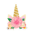 cute unicorn head with flower vector image vector image