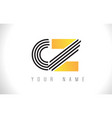 cz black lines letter logo creative line letters vector image