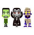 dracula the mummy and zombie set of monsters vector image vector image