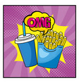 french fries with plastic soda cup and omg message vector image vector image