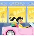 girl shopping in car vector image vector image