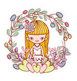 girl with hearts and flowers plants leaves vector image vector image