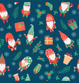gnomes seamless pattern funny christmas dwarfs vector image vector image