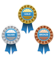 Gold silver and bronze awards eps 10 vector image vector image