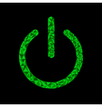 Green power button icon Black background Polygonal vector image