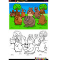 happy bears animal characters group color book vector image vector image