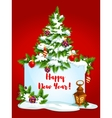 Holidays greeting card with pine tree vector image