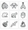 Indians Wild West and the Gold Rush icons set vector image vector image