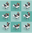 isometric set of businessman and businesswoman vector image