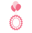 Lace baby frame on air balls vector image