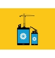 mobile apps development concept with tab and vector image vector image