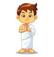 moslem boy hajj greeting vector image vector image