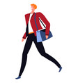 positive businessman wearing blazer going with bag vector image vector image