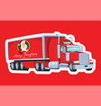 red truck with santa claus board hristmas vector image