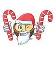 Santa with candy macadamia mascot cartoon style