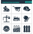 Set of modern icons Construction equipment vector image