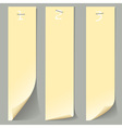 Three vertical numbered paper banners vector image vector image
