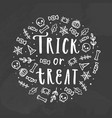 trick or treat chalk vector image