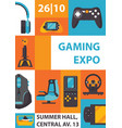 video games and gaming expo vertical poster good vector image