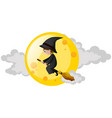 witch flying on broom over the moon vector image vector image