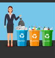 woman with trash vector image