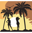Summer Card with women silhouette vector image