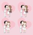 Wedding cartoon cute couple kissing vector image