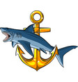 a shark around anchor vector image vector image