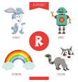alphabet letter r and pictures vector image