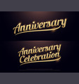 anniversary celebration golden logo calligraphy vector image vector image