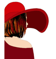 Beautiful girl with red hat vector image vector image