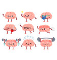 brain characters happy brains in different poses vector image vector image