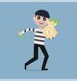 burglar running away with bag of money vector image