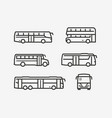 bus icon set transport symbol in linear style vector image