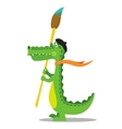 Cartoon crocodile painter with brush in beret vector image vector image