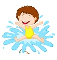 Cartoon Girl jumping to the water vector image vector image