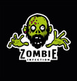 cartoon green zombie outbreak infection emblem vector image