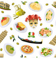 Cartoon italian cuisine elements pattern or
