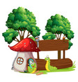caterpillar with wooden banner vector image vector image