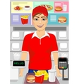 Caucasian male cashier at fast food restaurant vector image
