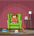 child sits on a chair and reads a book vector image
