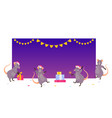 christmas rats at empty banner vector image vector image