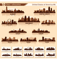 City skyline set 10 city silhouettes of USA 6 vector image vector image