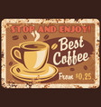 coffee retro metal plate rust cafe vintage poster vector image vector image