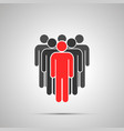 collective people silhouette with red leader vector image