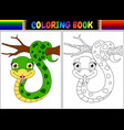 coloring book with cute snake on tree branch vector image vector image