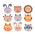 cute happy animals collection vector image vector image