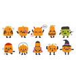 cute pumpkin mascots halloween party funny vector image
