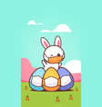 cute rabbit with egg wearing mask to prevent vector image vector image