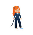 cute smiling red hair girl in cat costume vector image vector image